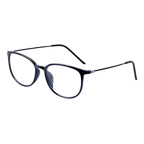 JoXiGo Brille Ohne Sehstärke für Damen Herren - Klar Linse TR90 Metall Brillenfassungen Ultraleicht(13g) - Brillenetuis