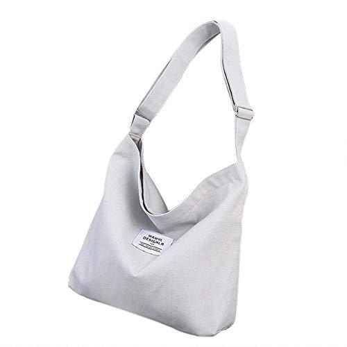 Belsmi Bolso de hombro de la compra de lona Totes Bag, gris, L