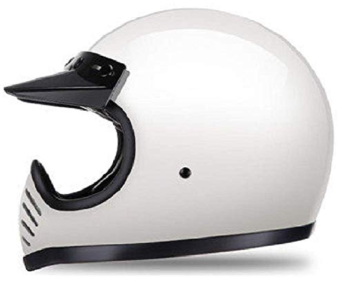 GOHAN ヘルメット バイクヘルメット オフロード レトロヘルメット フルフェイス オートバイ ジェット 原付き モトクロス レース 公道 耐衝撃 耐久 吸汗 通気 アウトドア パラソル 四季 強化ガラス繊维 試合適用 USブランド 販売授権 男女兼用 DOT認証 PSCマーク (929 L, ホワイト)