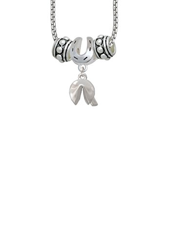 Delight Jewelry 3-D Fortune Cookie Horseshoe 3 Bead Necklace