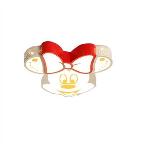 WHL Habitación para niños Minnie plafón LED lámpara de Techo Moderna Regulable Focos de Techo de protección Ocular de acrílico lámpara de Mickey Mouse de Dibujos Animados lámpara de Dormitorio