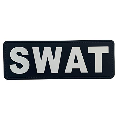uuKen Large PVC Rubber Tactical Police SWAT Operator Team Patch 8.5x3 inches with Hook Fastener for Tactical Vest Clothes Combat Plate Carrier Law Enforcement (Black and White, Large 8.5'x3')