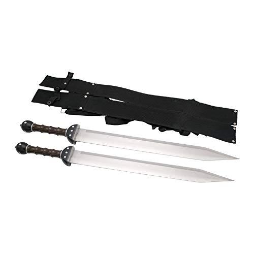 Amont Set mit Zwei Gladius S0195 Schwertern, inklusive Nylonholster und Riemen, Gesamtgröße 65 cm, Stahlklinge