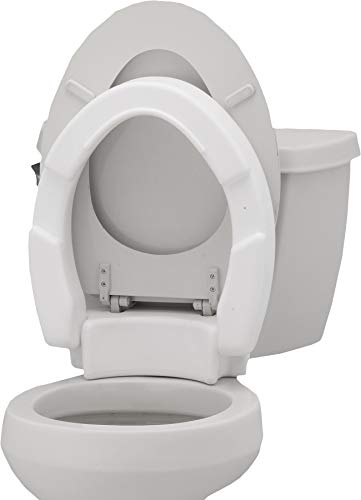 NOVA Hinged Toilet Seat Riser, Lift Up and Down Raised Toilet Seat (For Under Seat), For Elongated Seat