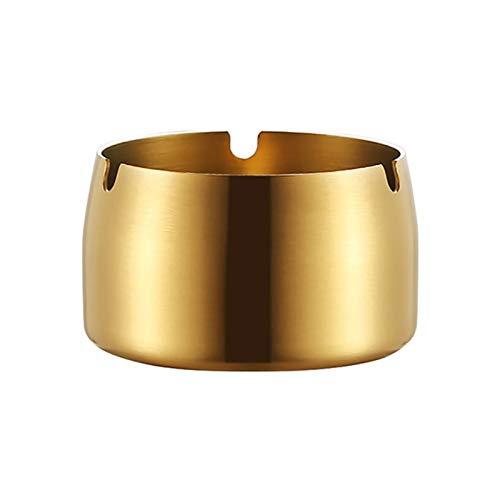 Cenicero redondo duradero portátil de acero inoxidable resistente a altas temperaturas ceniceros sin tapa para tabaco, cuenco de escritorio, soporte para cenizas dorado