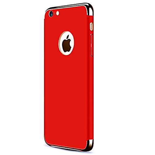 iPhone 7 Case,iPhone 8 Case,iBarbe 3 in 1 Hybrid Thin and Slim Hard PC Protective Holder Coated Non Slip Matte Surface with Electroplate Frame Protection Cover for Apple iPhone7/8 4.7 inch Red