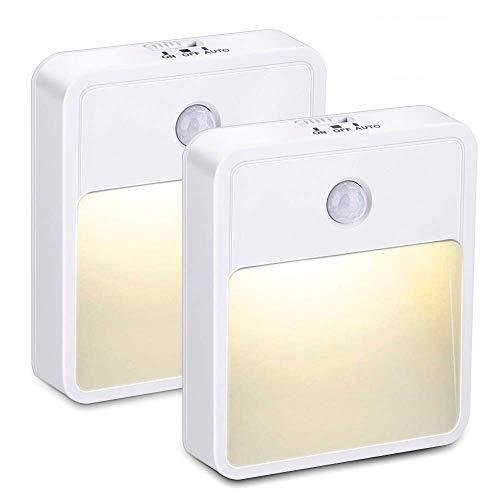 phixilin LED Nachtlicht mit Bewegungssensor, 2 Stück Nachtlampe mit Bewegungsmelder Auto/ON/OFF Energieeffizient warmes LED-Licht mit Haftend für Schlafzimmer, Bad, Küche, Flur, Treppen