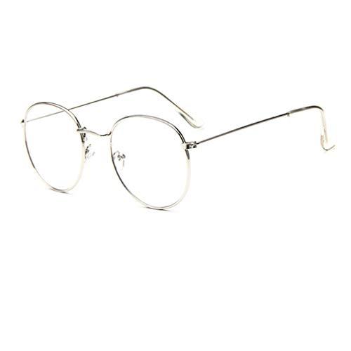 Damen Retro Ovale Dünn Metall Rahmen Brille Ohne Stärke Klare Linse