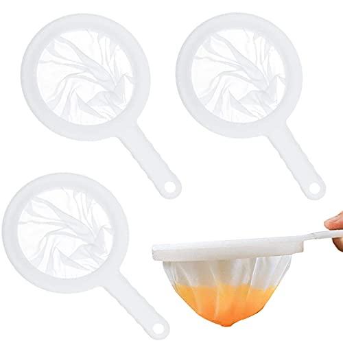 ysister Set 3 Pezzi setaccio Set Manici in plastica Setacci a Maglia fine, setaccio Domestico, Filtro Set setaccio marmellata setaccio per Imbuto da Cucina, per filtrare succhi, Vino, Latte