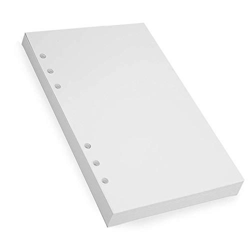 """180 Hojas/360 Páginas Papel de Recambio A5 Papel blanc para Agenda Filofax Bullet Páginas Blancas Forradas Paquete Páginas en Blanco Papel de Recambio A5 con 6 Anillas 14.2x20.9cm/5.6"""" x 8.2"""""""