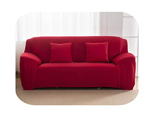 HCIUUI Solid Color Sofa Covers for Living Room Polyester Modern Elastic Corner Couch Cover Slipcovers Chair Protector 1/2/3/4 Seater-Red-1-Seat 90-140 cm