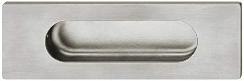 JUVA Tirador para puerta corredera rectangular de acero inoxidable mate SIGHA con revestimiento de PVD, 140 x 45 mm, 1 unidad, mango empotrado para empotrar en madera
