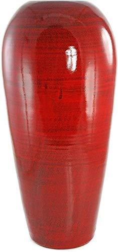 Lifestyle & More Wunderschöne Deko Vase Blumenvase Bodenvase aus Keramik Rot Höhe 60 cm Breite 28 cm