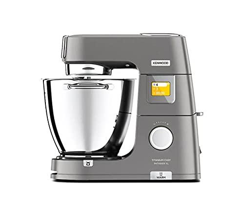 KENWOOD KWL90.124SI Titanium Chef Patissier XL Küchenmaschine mit Waage und Wärmefunktion, 1400 Watt, silber