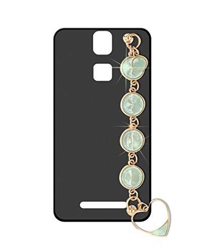 Sunrive Kompatibel mit Elephone P8000 Hülle Silikon,Handykette Glitzer Diamant Strass Handyhülle matt Schutzhülle Etui Kette Hülle Backcover Handschlaufe(Smaragd) MEHRWEG