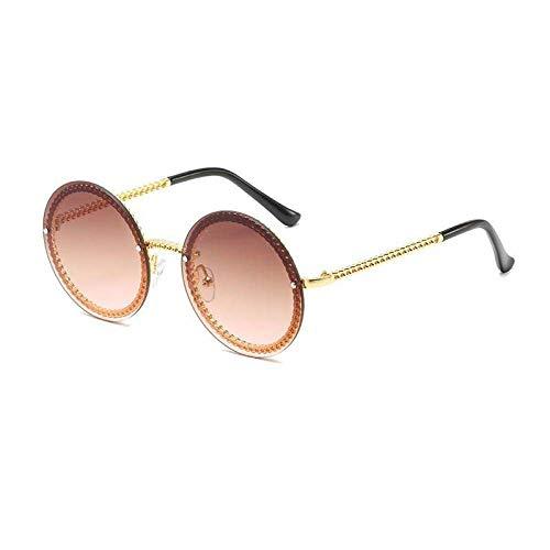 ZJMIYJ zonnebril, unieke metalen ketting, ronde zonnebril, dames, heren, vintage, dames oculos de verzending, zonder ketting, bruin