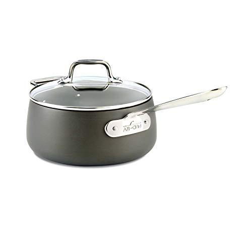 All-Clad E7852464 HA1 Hard Anodized Nonstick Dishwaher Safe PFOA Free Sauce Pan Cookware, 3.5-Quart, Black