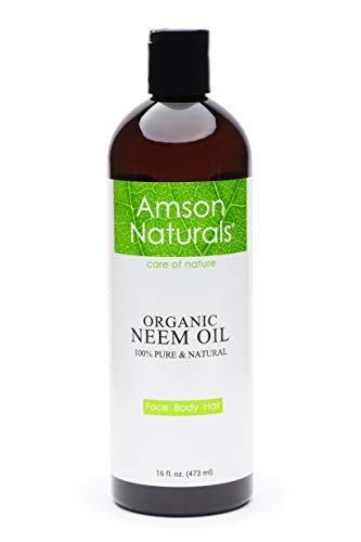 Neem Oil Organic 16oz/473ml-by Amson Naturals- Pure Natural, Cold Pressed -For Face Body Hair – Skin Care, Hair Care.