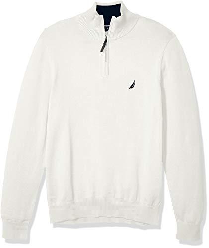 Nautica Men's Classic Fit Quarter Zip Sweater, Marshmallow, XX-Large