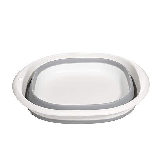 洗い桶 折りたたみ 洗面器 キッチン たらい 洗濯 シリコン 収納便利 掃除 アウトドア 車載バケツ 多機能 足浴 釣り用バケツ 5色 (グレー+ホワイト, 28.5*8.5cm)