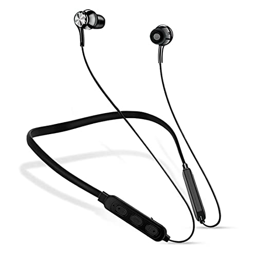 Bluetooth in-Ear Wireless Neckband Earphone with Mic Latest Bluetooth 5.0 Wireless Earphones Headphones Earbuds 8 Hours Playtime Built-in Extra Bass and Assistant Control (Black-147)