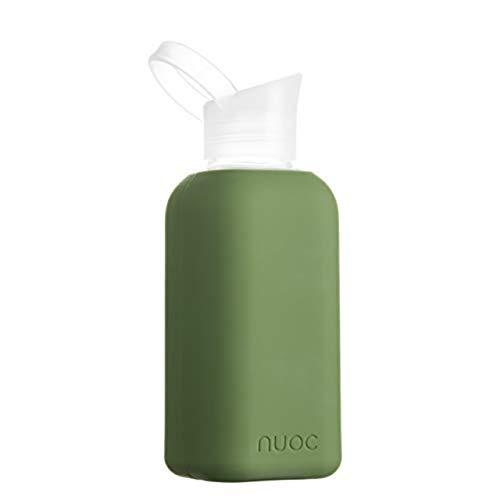 NUOC | Botella de agua cristal | 500 ml | Botella de agua reutilizable | Botella de cristal con funda de silicona | Bebidas frías y calientes | sin BPA, ecológica y ligera | Deporte, oficina, yoga