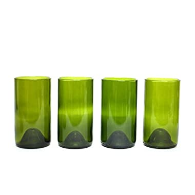 Refresh Glass Recycled Wine Bottle Glasses, 16oz set (Green)