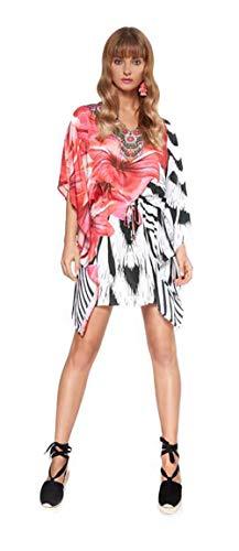 Lola Casademunt Vestido Corto Verano Mujer Kaftan Estampado Cuello V Protector Solar para Cubrir Bikini Fiesta Hippie Moda Mini Playa Chic Talla U