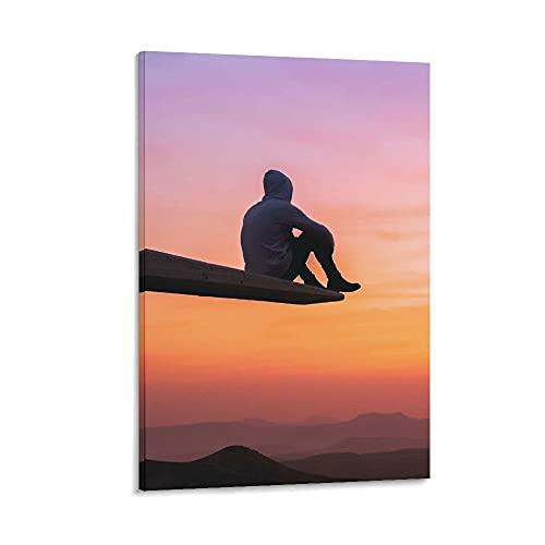 DRAGON VINES Hoddie Guy On Edge Watching Sunset - Póster de lienzo para decoración de dormitorio, oficina, 50 x 75 cm