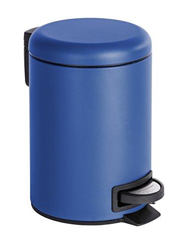 WENKO 22146100 Kosmetik Treteimer Leman, Kosmetikeimer, Mülleimer Fassungsvermögen: 3 l, Stahl, 17 x 25 x 22,5 cm, dunkelblau