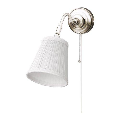 IKEA Wandleuchte Arstid nernickelt weiß Schirm 16 cm D Lampe Wandlampe