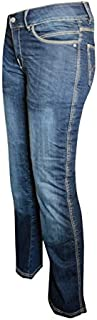Bull-it SR6 Vintage Style Women's Motorcycle Jeans with Covec Protection (Blue, 14W x 29L)