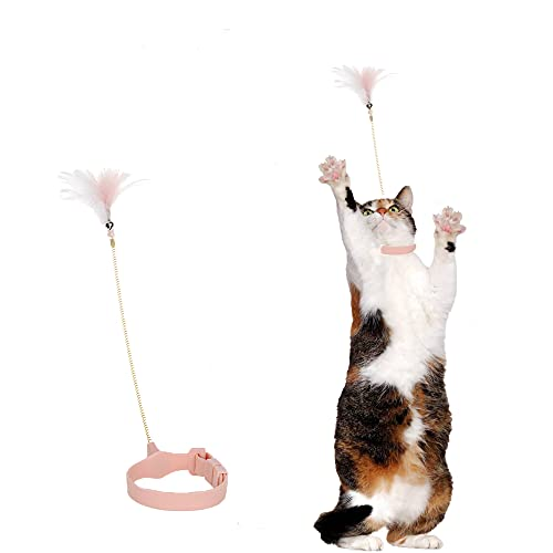 Vnliway Cat Feather Toy, Funny cat Stick,Cat Interactive Toy, Funny cat with Feathers on feet, Used for cat Indoor Play,Pink