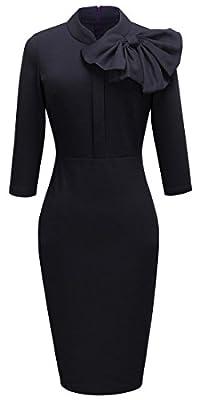 HOMEYEE Women's Vintage Bowknot 3/4 Sleeve Party Dress B244