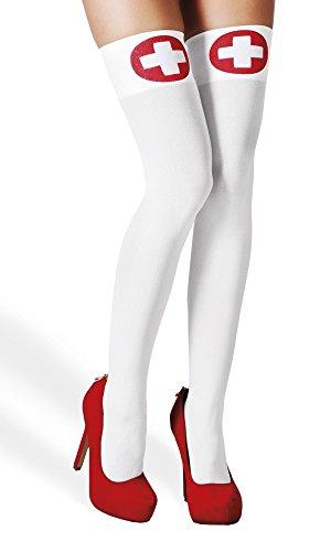 Das Kostümland Halterlose Strümpfe zum Krankenschwester Kostüm - Weiß Rot