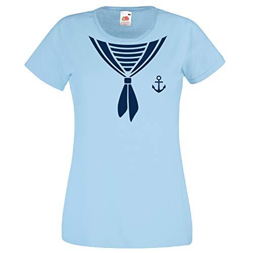 Shirt-Panda Damen T-Shirt · Matrosen Kostüm · wahlweise mit Mütze Karneval Gruppen Fasching Seefrau Verkleidung Party Matrosenmütze Darts Unisex Hut · Himmelblau (Druck Blau) L