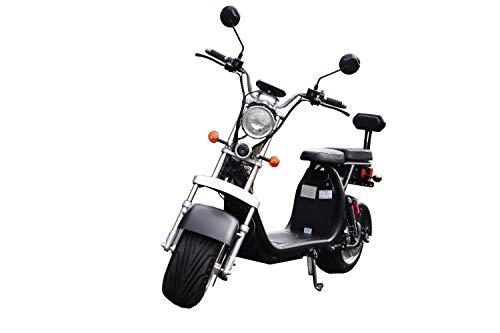 Coco Bike Fat E-Scooter mit Straßenzulassung bis zu 48 km/h schnell - mit Alu Felgen, 60V | 1500W | 12AH Akku -CP1.6 (Schwarz)