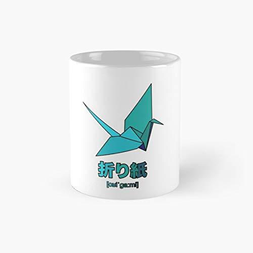 Origami Crane Aqua Classic Mug | Best Gift Funny Coffee Mugs 11 Oz