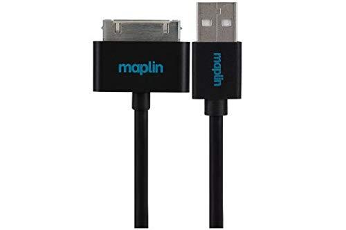 Maplin Premium 30 Pin for Samsung to USB A Mannelijke Kabel 1,5 m Zwart