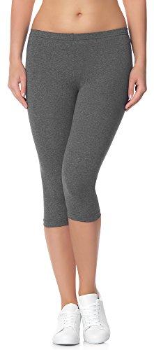 Ladeheid Damen Leggings aus Baumwolle 3/4 LAMA01 (Graphite9, L/XL)