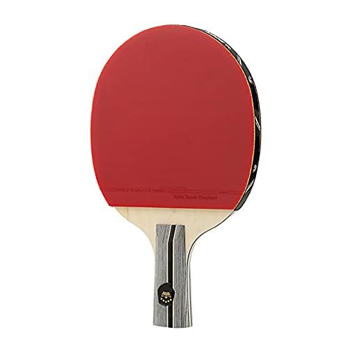 LEAA Raqueta de Tenis de Mesa Ligero Potente Ping Pong Paddle Bat Corto Recto, Agarre Horizontal Entrenamiento de Tenis de Mesa, Accesorios Interiores al Aire Libre