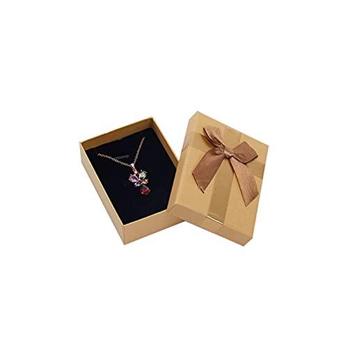 JIEERCUN Bowknot Jewelry Box Anillo Cuadrado Caja de Almacenamiento Pendiente Collar Pantalla Pantalla Caja de Almacenamiento Pequeño Soporte de joyería Boda Compromiso Embalaje Cajas de joyería