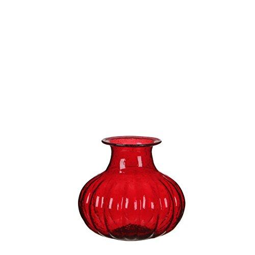 Casa Vivante Caja vaas, glas, rood, 11,5 x 11,5 x 10 cm