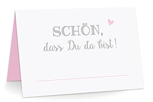 KuschelICH 50 Premium Tischkarten Schön DASS Du da Bist mit Herz rosa - Platzkarten zum selbst Beschriften (Rosa, 50)