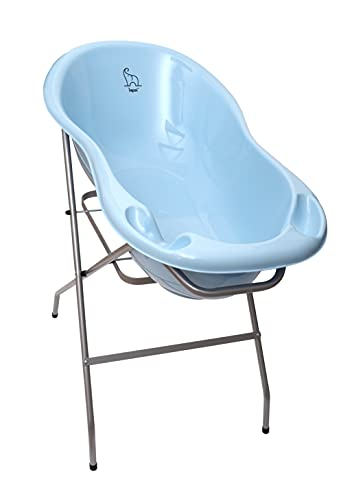 LAPSI® 3-teiliges Set Ergonomische Babywanne mit Stöpsel wenig 86cm Elefant Blau + Ständer Gestell Silber + Bade Thermometer für Baby