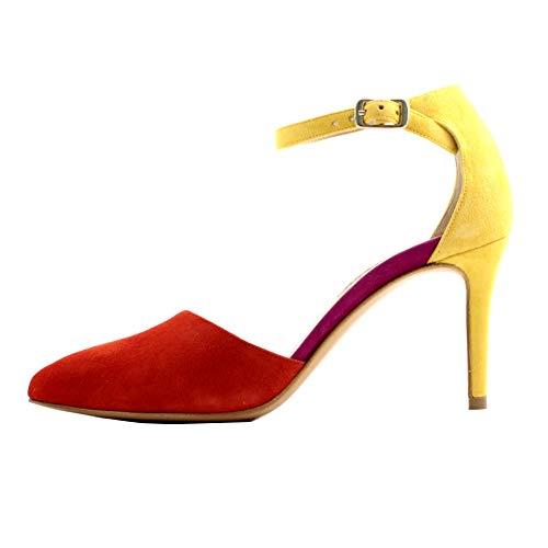 ALBANO Sandali a Punta, Donna camoscio Rosso Giallo e Fucsia, con Cinturino alla Caviglia. Tacco Slim da 8cm Prodotto Made in Italy. N.37