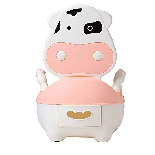 Glenmore Orinal Bebe Niño WC para Infantil con Tapa y Asiento Acolchado Suave Niña Vaca Rosado