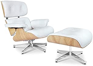 Modern Sources - Mid Century Recliner Lounge Chair with Ottoman Real Wood Genuine Italian Leather Eames Replica (White/Ash)