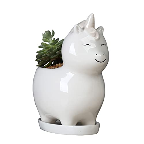 Potes De Plantas Blanco Cerámica Dibujos Animados Flor Pot Suculenta Cerámica Unicornio Onnamentos...