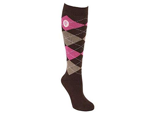 Covalliero Brescia - Calcetines de equitación para Mujer, Talla 34-36, Color Madera y Rosa Oscuro